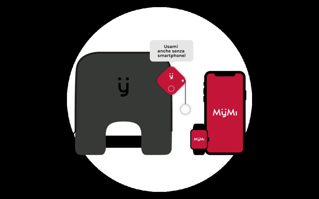 MyMi + tracker-portachiavi + app per android, iOS e Apple Watch
